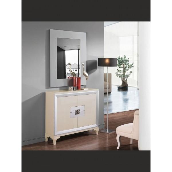 Mueble de entrada bicolor con dos puertas y dos cajones for Mueble dos puertas