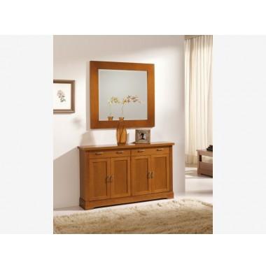 Muebles de cerezo para recibidor taquill n y espejo for Espejos bonitos para recibidor