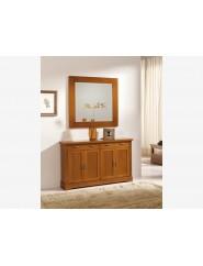 Muebles de cerezo para recibidor taquillón y espejo.
