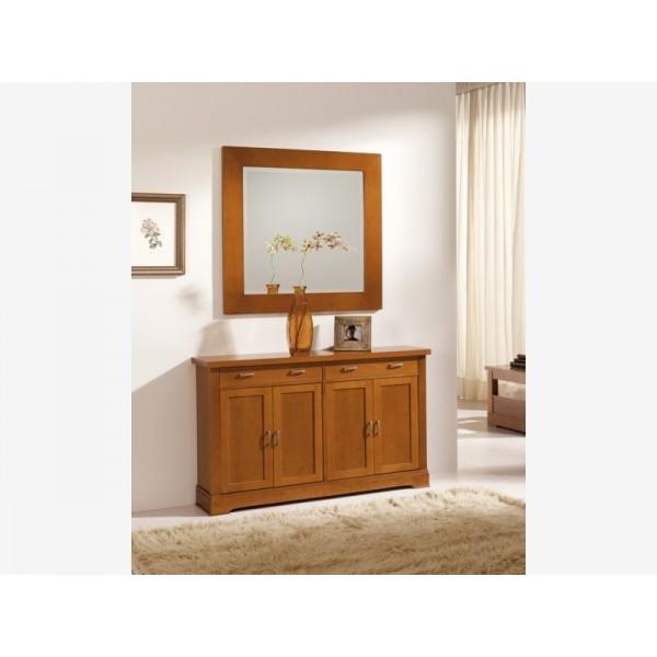 Muebles de cerezo para recibidor taquill n y espejo for Muebles zapateros para recibidor