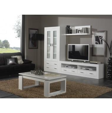 Composición modular salón moderna lacada en blanco.