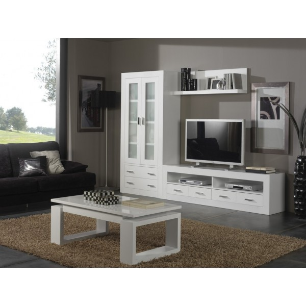 Composici n modular sal n moderna lacada en blanco for Composicion modular salon