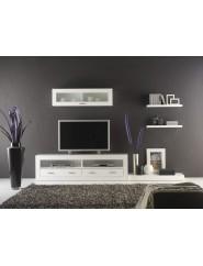 Composición para televisión moderna en color blanco.