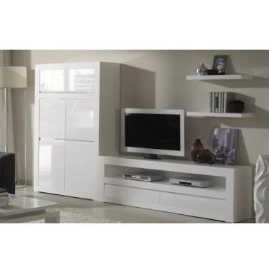 Muebles modernos para sal n con mesa t v y m dulo puertas for Modulos muebles salon