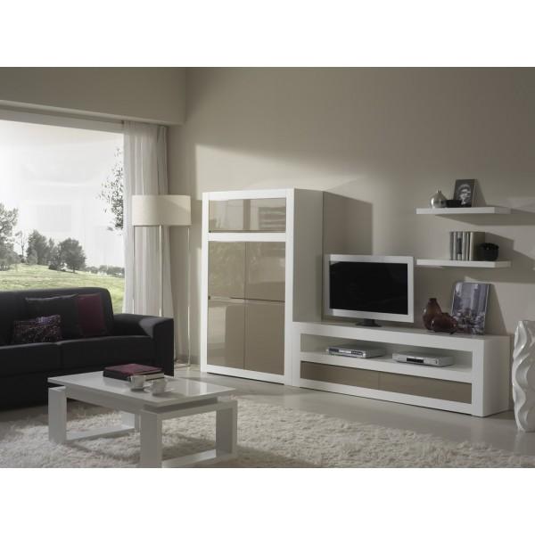 Muebles modernos para sal n con mesa t v y m dulo puertas for Modulos salon modernos
