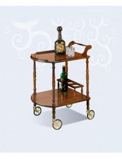 Camarera - carrito botellero clásico de madera con ruedas.