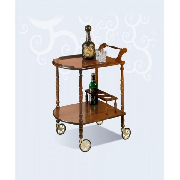 Camarera carrito botellero cl sico de madera con ruedas for Carrito auxiliar con ruedas