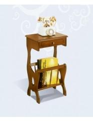 Mesita telefonera revistero de madera clásica con un cajón.