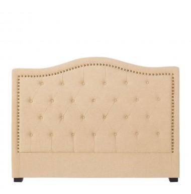 Cabecero para cama de matrimonio cl sico tapizado capiton en tela beige o crema con tachuelas - Cabeceros tapizados con tachuelas ...