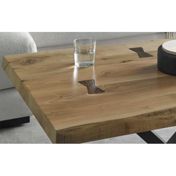 Mesa de centro moderna con tablero r stico de madera nogal - Tablero madera ...