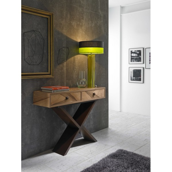 Consola recibidor moderna de madera color nogal natural y - Colores para un recibidor ...