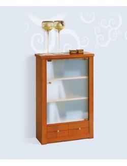 Vitrina-estantería pequeña con puerta de cristal y un cajón.