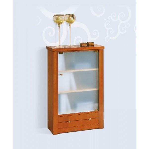 Vitrina estanter a peque a con puerta de cristal y un caj n - Estanterias de cristal ...