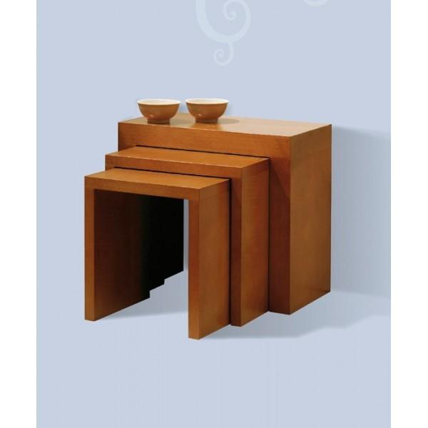 Conjunto de tres mesas nido modernas de madera - Mesas de madera modernas ...
