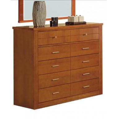 Mueble cómoda de cerezo con cinco cajones.