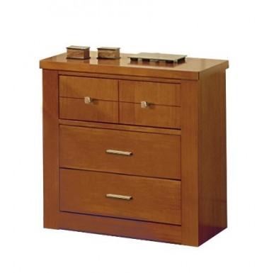 Mesilla de dormitorio de madera cerezo con tres cajones.