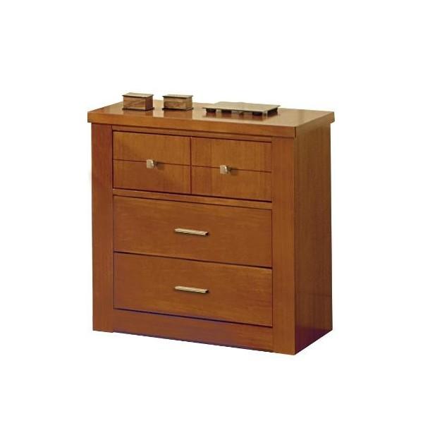 Mesilla de dormitorio de madera cerezo con tres cajones - Mesillas de dormitorio ...