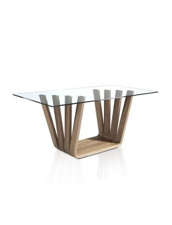 Mesa de comedor moderna con pata en madera de nogal y tapa de cristal.
