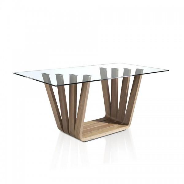 Mesa de comedor moderna con pata en madera de nogal y tapa for Mesas de comedor cristal y madera