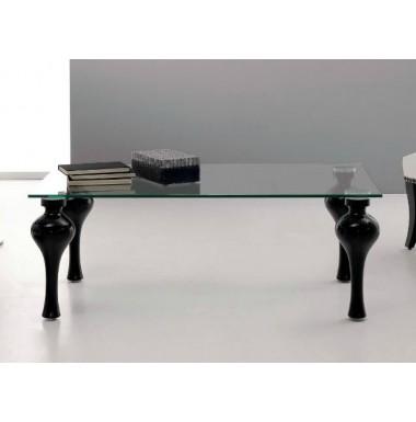 Mesa de centro con patas en madera de haya y sobre de cristal for Patas para mesa de centro