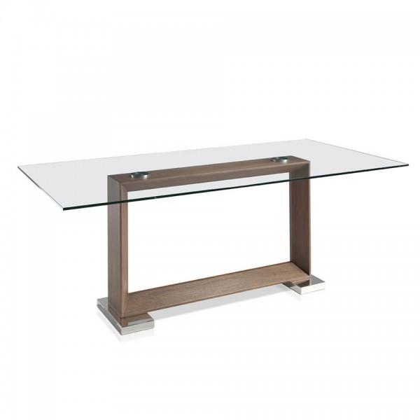 Mesa de comedor rect ngular de cristal templado y pata de - Mesas cristal templado ...