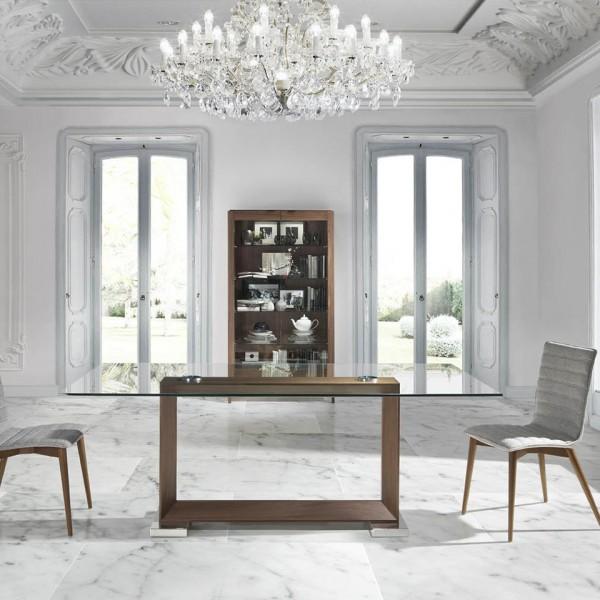 Mesa de comedor rect ngular de cristal templado y pata de for Mesas de cristal y madera para comedor