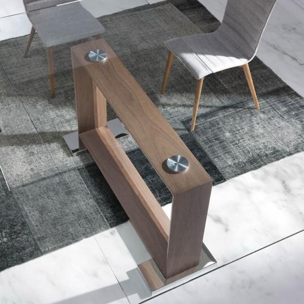 Mesa de comedor rectángular de cristal templado y pata de madera de ...