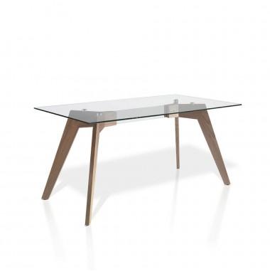Mesa con tapa de cristal rectangular  y patas de madera de nogal.