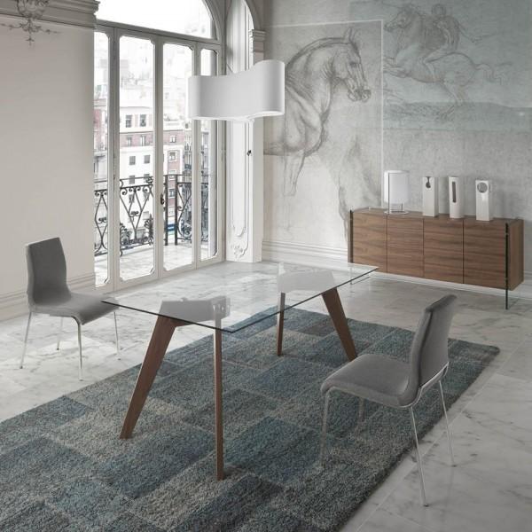 Mesa con tapa de cristal rectangular y patas de madera de nogal - Mesa comedor cristal y madera ...