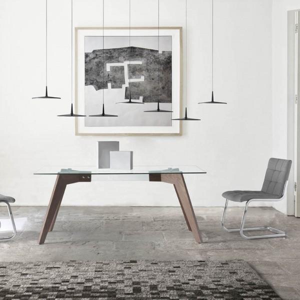Mesa con tapa de cristal rectangular y patas de madera de - Mesa centro madera y cristal ...