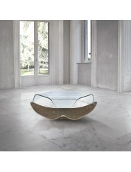 Mesa de centro moderna redonda de madera de nogal y tapa de cristal.
