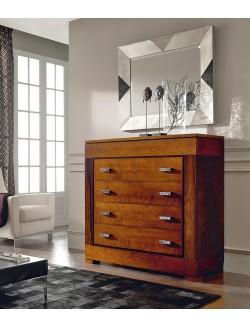 C moda de recibidor en madera de nogal y cerezo con seis for Comoda recibidor