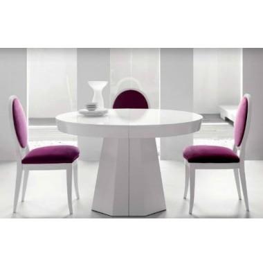 Mesa de comedor en madera de haya redonda y extensible - Mesas de comedor extensibles redondas ...