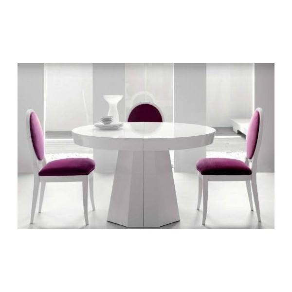 Mesa de comedor en madera de haya redonda y extensible - Mesa comedor redonda madera ...