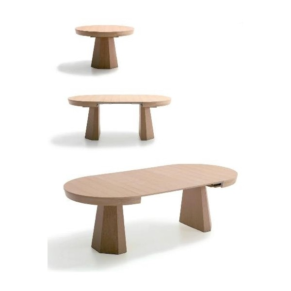 Mesa de comedor en madera de haya redonda y extensible for Mesa comedor redonda extensible madera