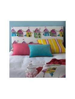 Cabezal alto infantil / juvenil tapizado en distintas telas para cama de 90 y de 105 cm.