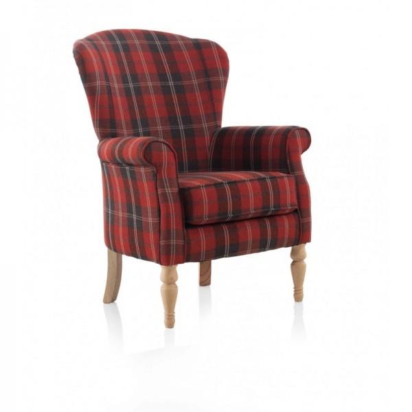 Sill n orejero cl sico peque o tapizado en tela estampada - Chaise longue pequeno ...