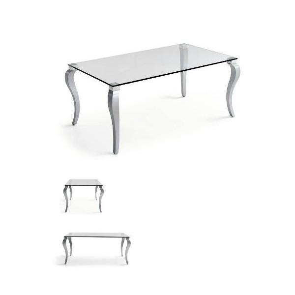 Mesa de comedor rect ngular con patas en madera de haya y for Mesa comedor cristal y madera