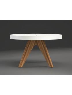 Mesa de comedor redonda con uno o dos extensibles.