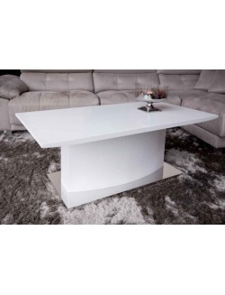 Mesa de centro rectangular con base de acero y blanco satinado