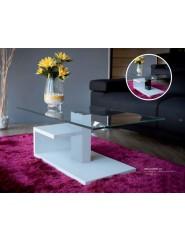Mesa de centro rectangular con tapa de cristal templado