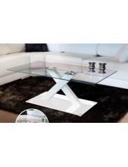 Mesa de centro con tapa de cristal templado transparente