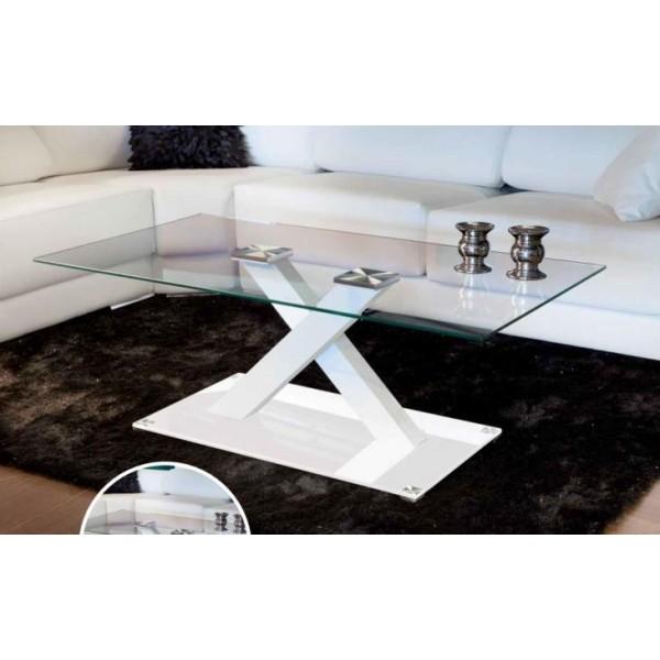 Mesa de centro con tapa de cristal templado transparente transparente - Mesa centro transparente ...
