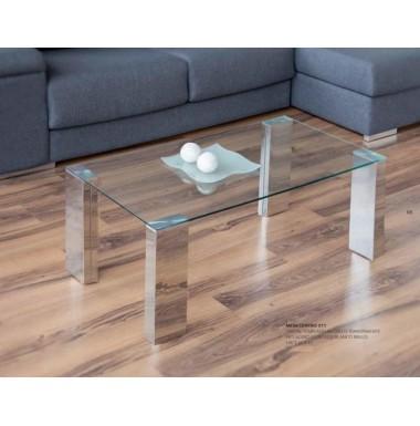 Mesa de centro moderna con tapa de cristal y patas acero - Mesas modernas de cristal ...