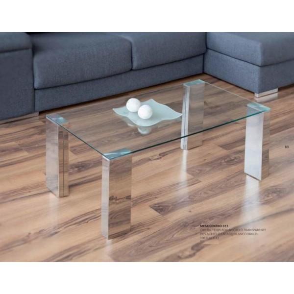 Mesa de centro moderna con tapa de cristal y patas acero for Mesas de centro de cristal modernas