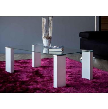 Mesa de centro moderna con tapa de cristal y patas blanco - Mesas modernas de cristal ...