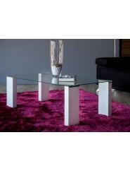 Mesa de centro moderna con tapa de cristal y patas blanco