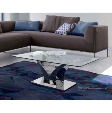 Mesa de centro moderna de acero y tapa de cristal templado - Mesas modernas de cristal ...