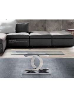 Mesa de centro pie de acero y tapa de cristal