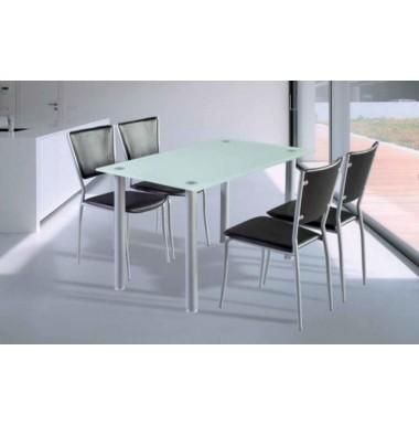 Mesa para cocina patas en color plata y tapa de cristal templado de 10 mm - Patas para mesa de cristal ...